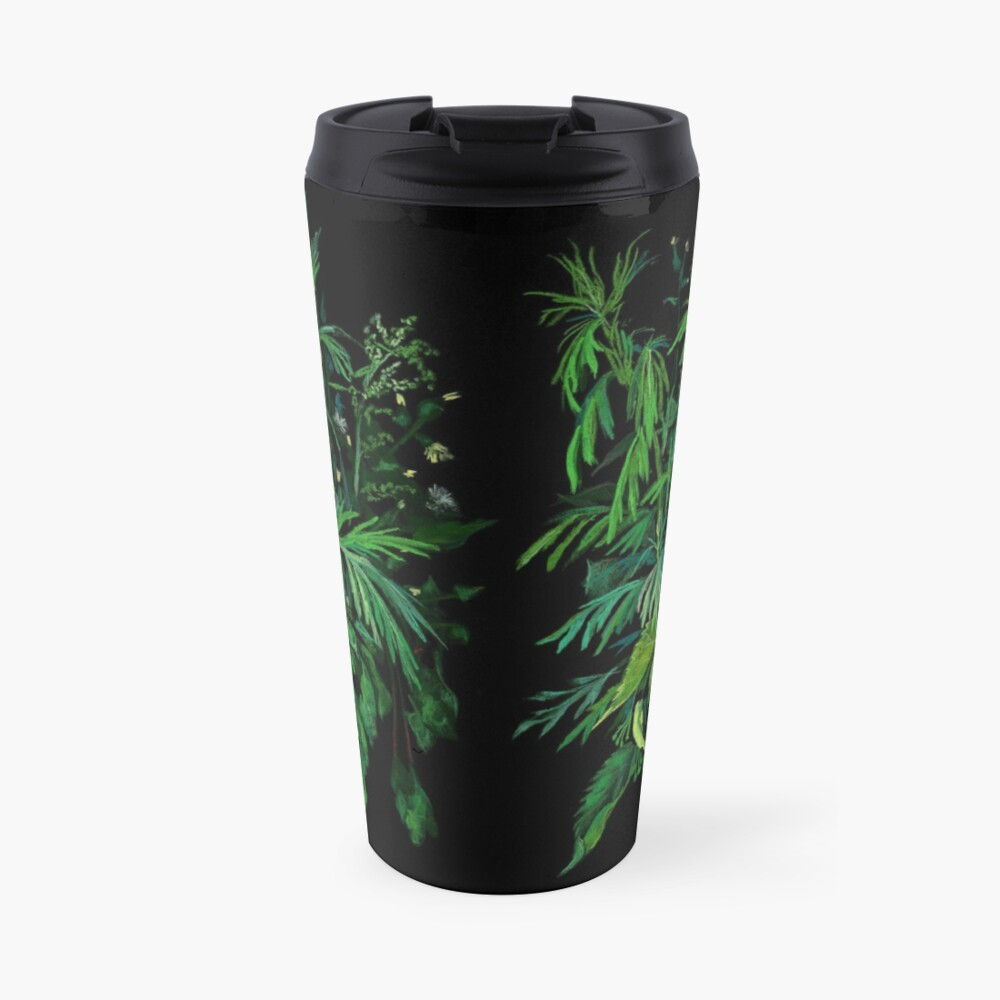 Green and Black, Summer Greenery, Colorful Floral  Travel Mug