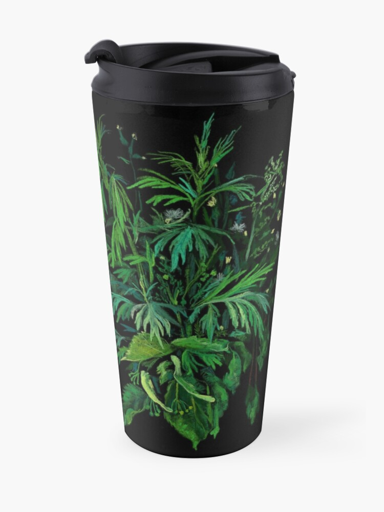 Alternate view of Green and Black, Summer Greenery, Colorful Floral  Travel Mug