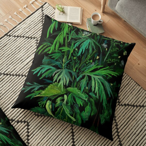 Green and Black, Summer Greenery, Colorful Floral  Floor Pillow