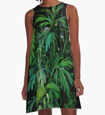 Green and Black, Summer Greenery, Wildflowers, Bold Dark Floral A-Line Dress