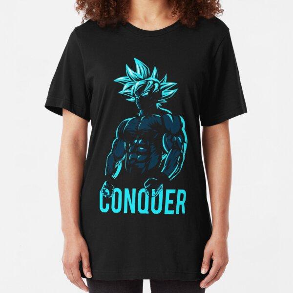 CONQUER - Goku Super Saiyan God Blue Slim Fit T-Shirt