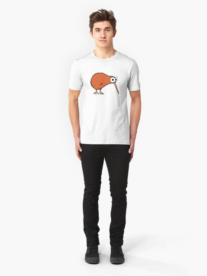 Alternate view of Cutie Kiwi (clock includes Maori numbers) Slim Fit T-Shirt