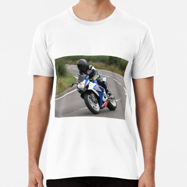 Sports bike traveling at speed on bend Premium T-Shirt