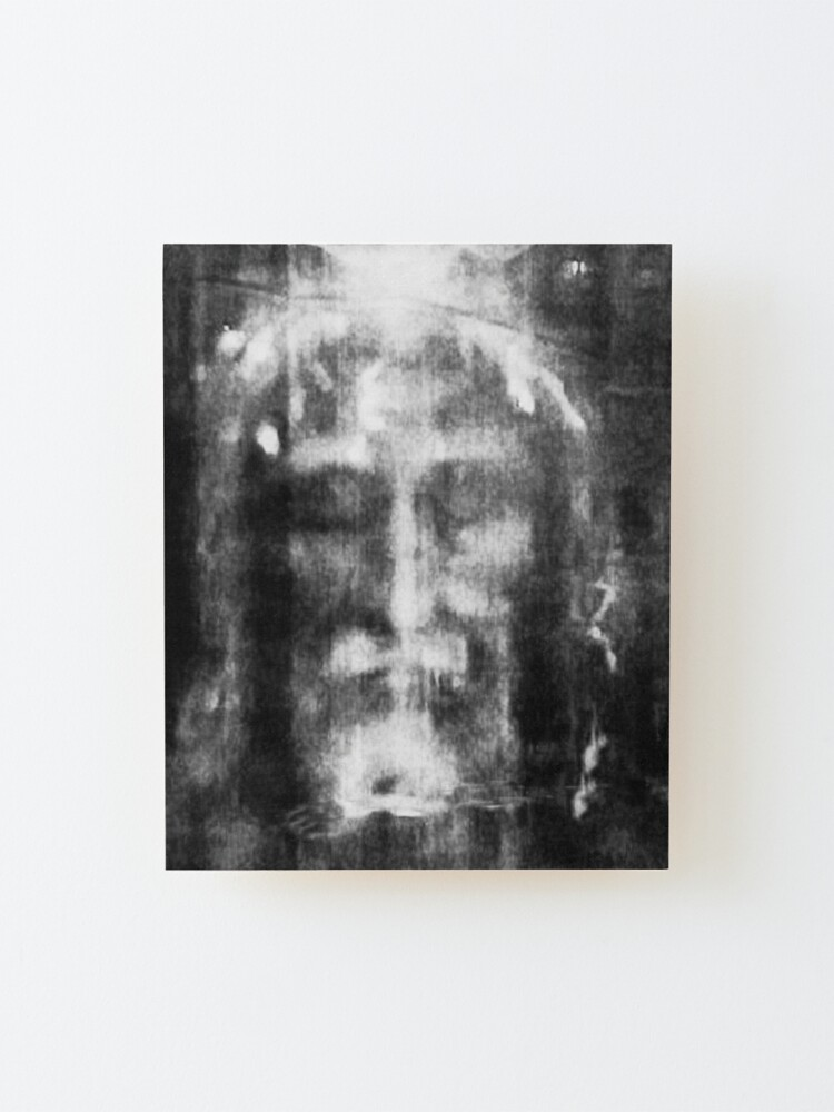 Alternate view of Shroud of Turin. Turin Shroud. Christianity, Christian, Icon, Bible, Biblical, Resurrection. Mounted Print