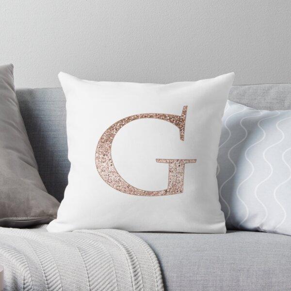 G rose gold glitter monogram letter Throw Pillow