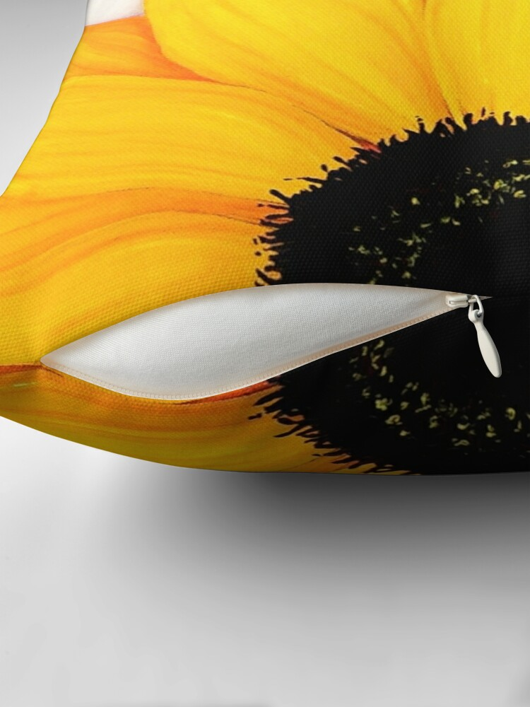 Alternate view of Beautiful Large Yellow Sunflower Painting Throw Pillow