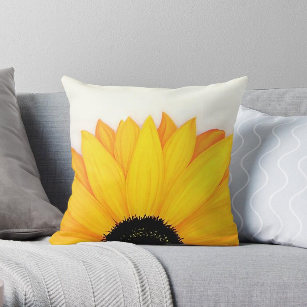 Beautiful Large Yellow Sunflower Painting Throw Pillow