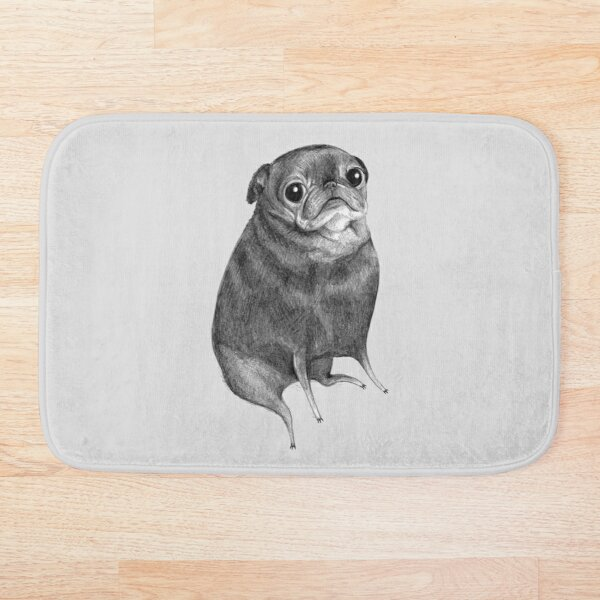 Sweet Black Pug Bath Mat