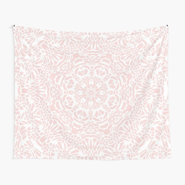 Blush Pink and White Mandala Tapestry