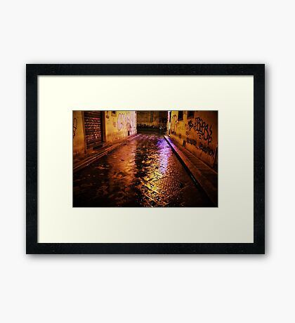 Back Streets at Night Framed Print