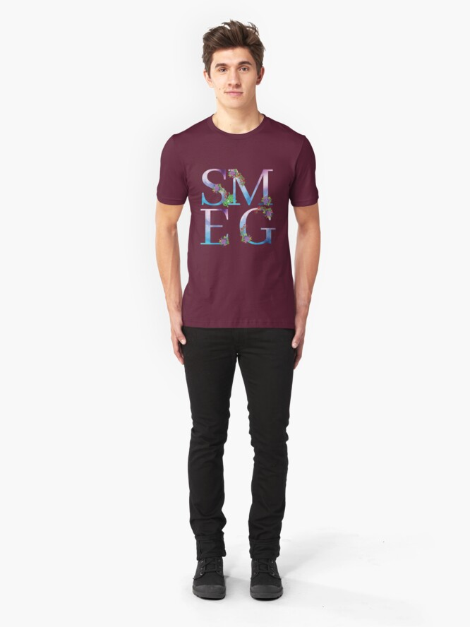 Alternate view of Watercolor Floral Monogram Smegged Up Slim Fit T-Shirt