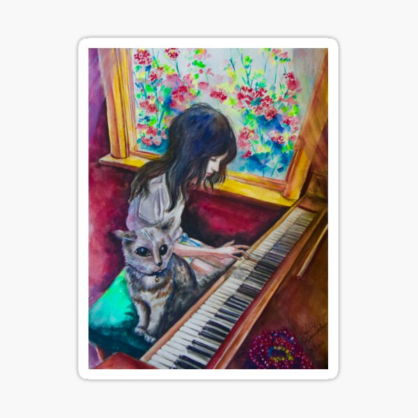 Piano Room (watercolor) Sticker