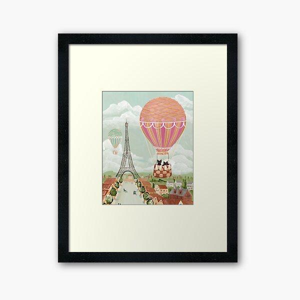 Hot Air Balloon Ride Cats Framed Art Print