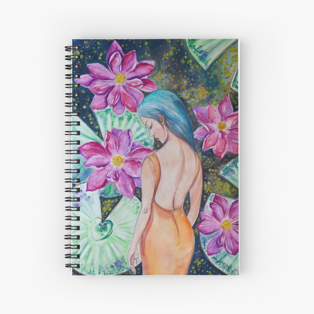 Sleeping in the Lily Pond (watercolor) Spiral Notebook