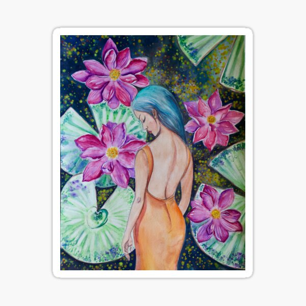 Sleeping in the Lily Pond (watercolor) Sticker