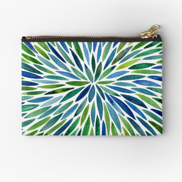 Watercolor Burst – Blue & Green Zipper Pouch