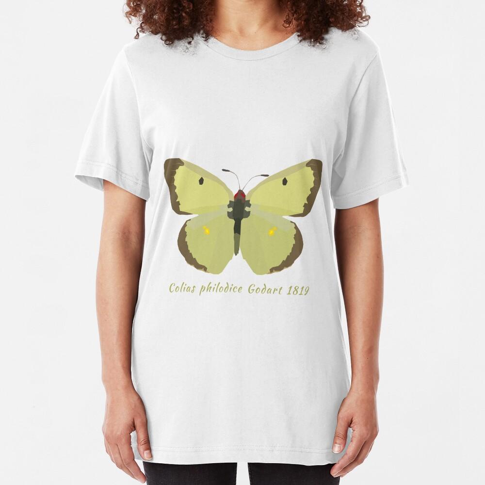 Clouded Sulphur Butterfly Portrait Drawing Slim Fit T-Shirt
