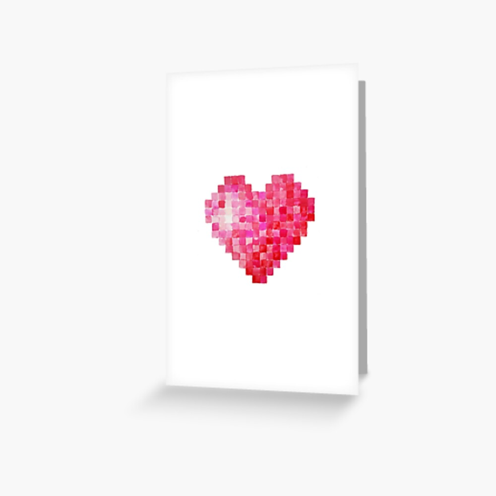 Valentine Heart - Watercolor Squares Greeting Card