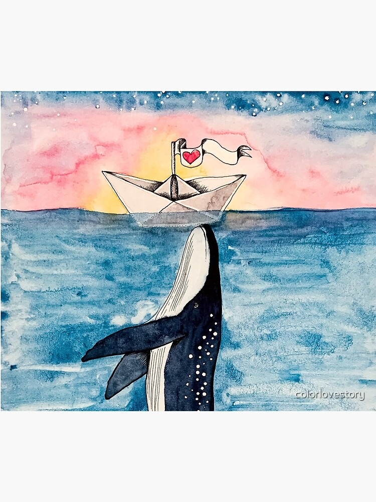 Paper Boat meets Whale aquarell von colorlovestory