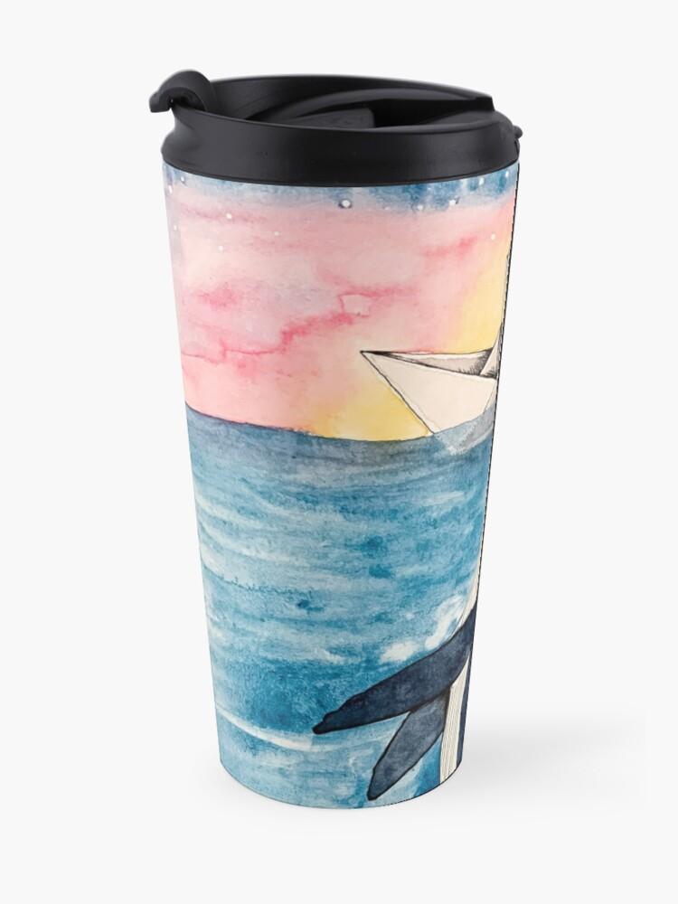 Alternative Ansicht von Paper Boat meets Whale aquarell Thermobecher