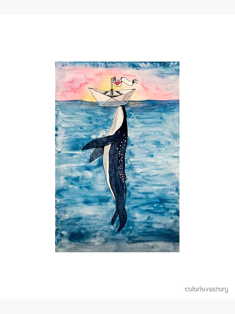 Paper Boat meets whale watercolor by colorlovestory