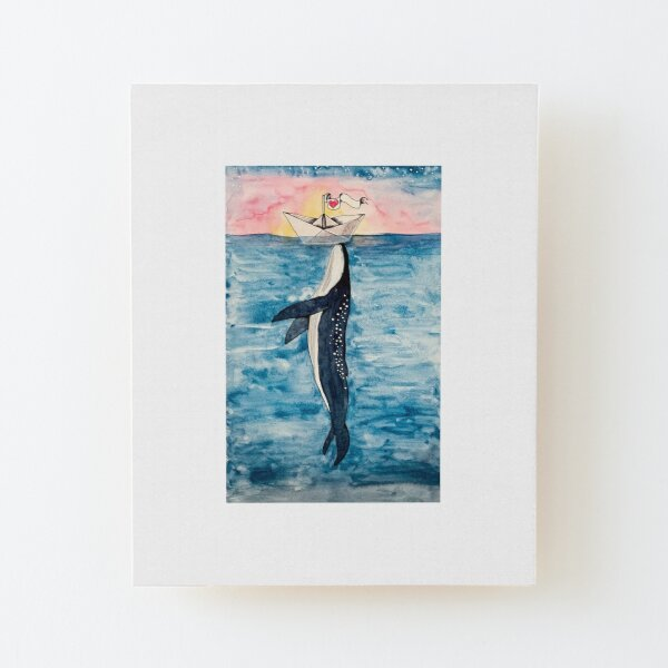Paper Boat meets whale watercolor Wood Mounted Print