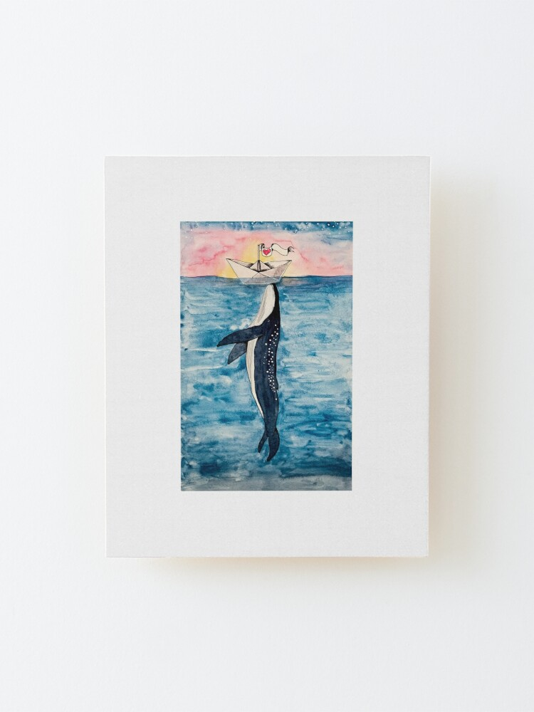 Alternate view of Paper Boat meets whale watercolor Mounted Print
