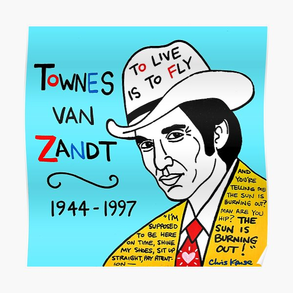 Townes van Zandt Pop Folk Art Poster