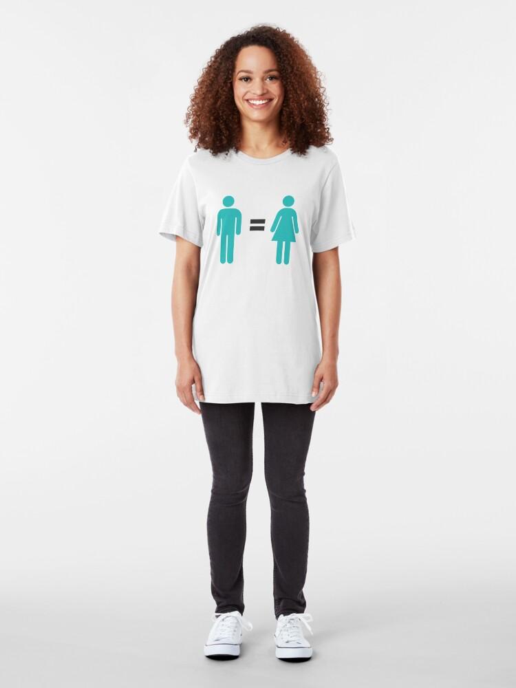 Alternate view of Man = Woman Slim Fit T-Shirt