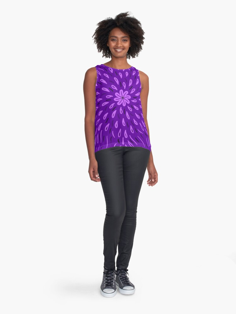 Alternate view of Purple Flower Drops Sleeveless Top