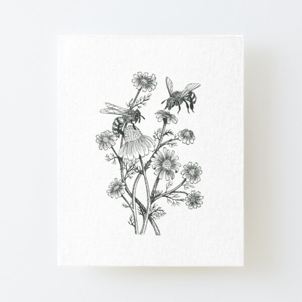 bees and chamomile on caramel background Canvas Mounted Print