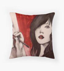 Red Mimi  Throw Pillow