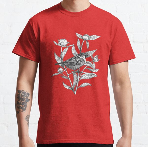 ink sparrow and peonies on blue background Classic T-Shirt