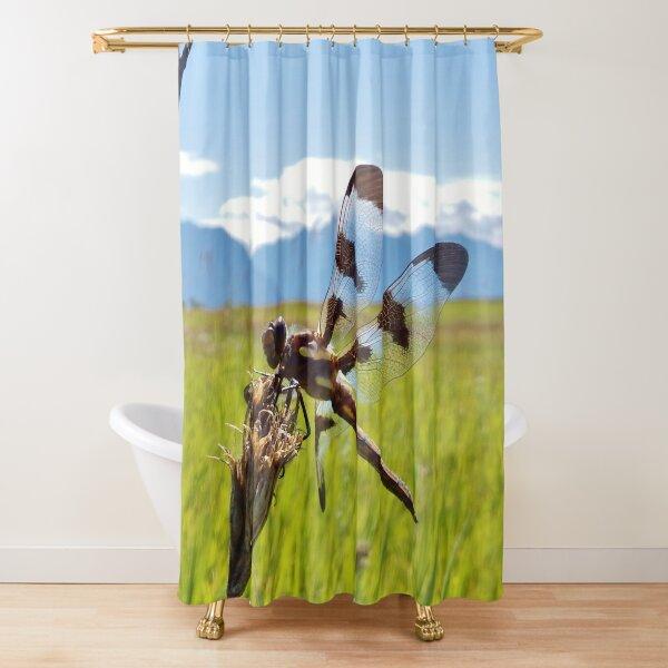 Black & White Dragonfly Shower Curtain