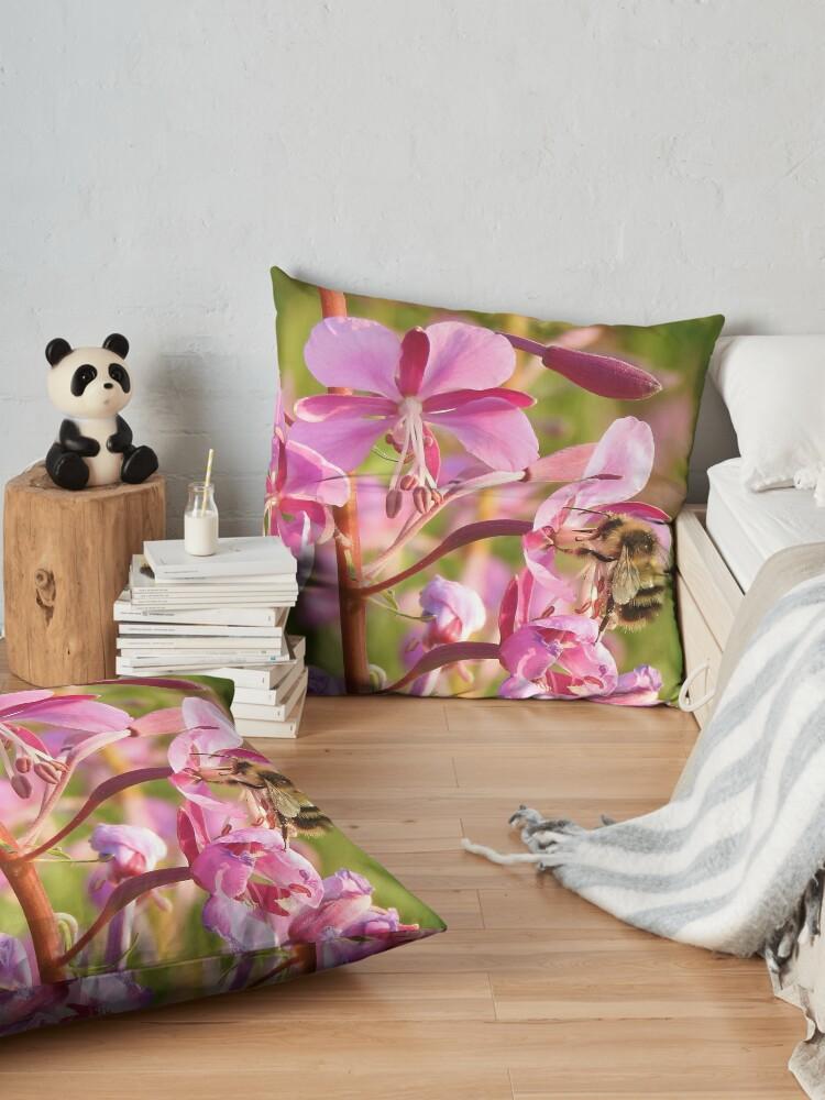 Alternate view of Bumblebee on Fireweed Floor Pillow