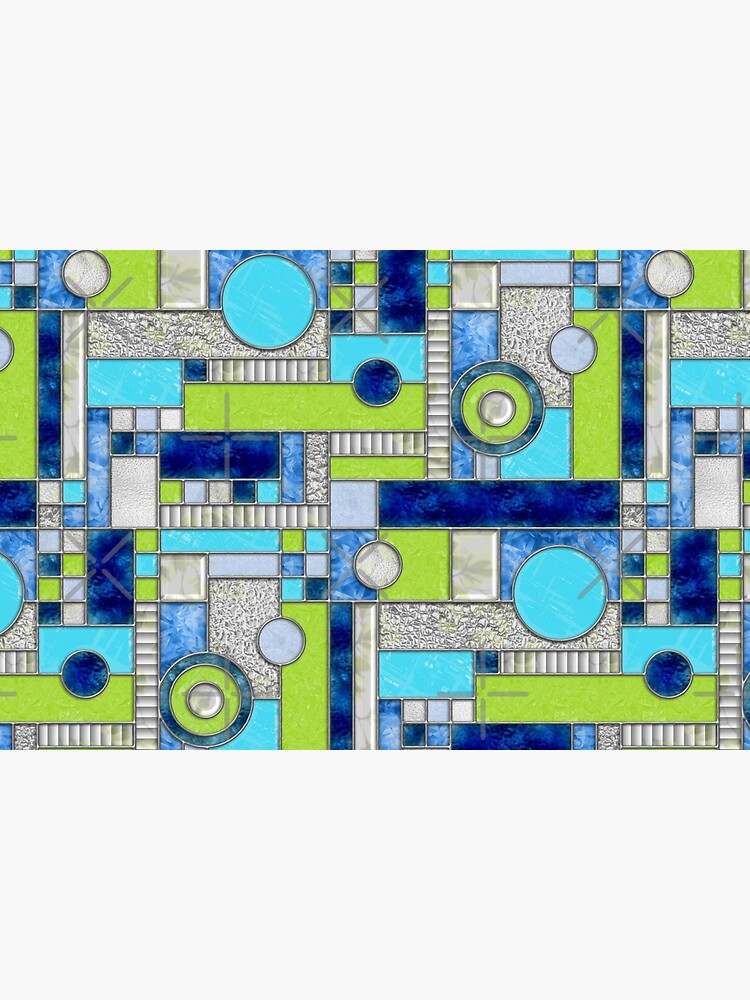 Stained Glass Window Color Blocking - Blue Green by wickedrefined