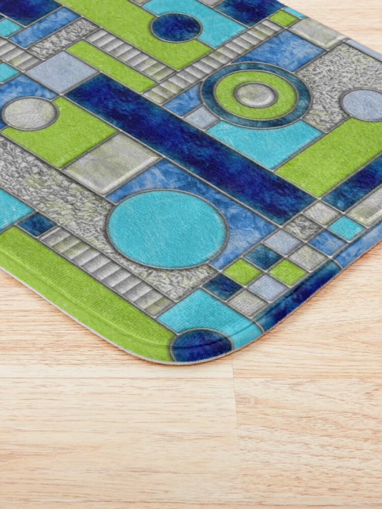 Alternate view of Stained Glass Window Color Blocking - Blue Green Bath Mat