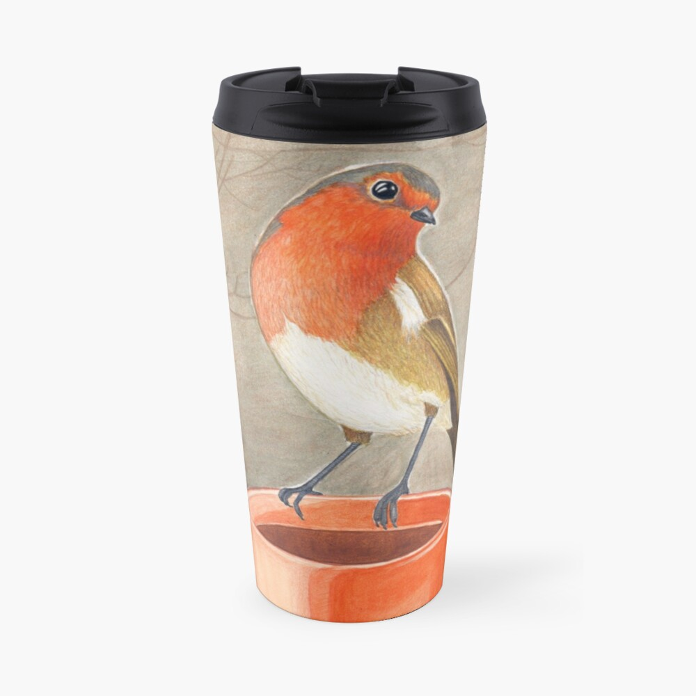 coffee loving robin bird Travel Mug