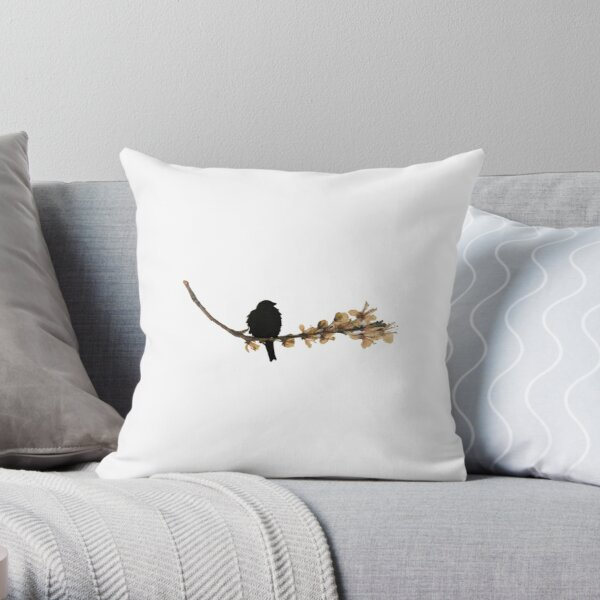 Japanese Quince Pressed Flower Blackbird Throw Pillow