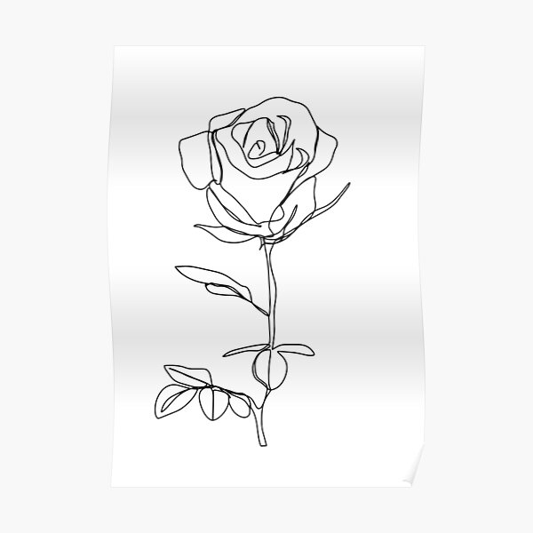 Minimalistic Black and White Rose Poster