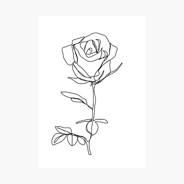 Minimalistic Black and White Rose Photographic Print