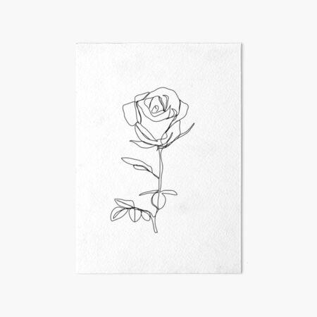 Minimalistic Black and White Rose Art Board Print