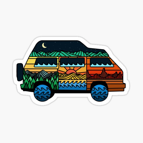 Camping car, dehors, montagne, conception voyage Sticker