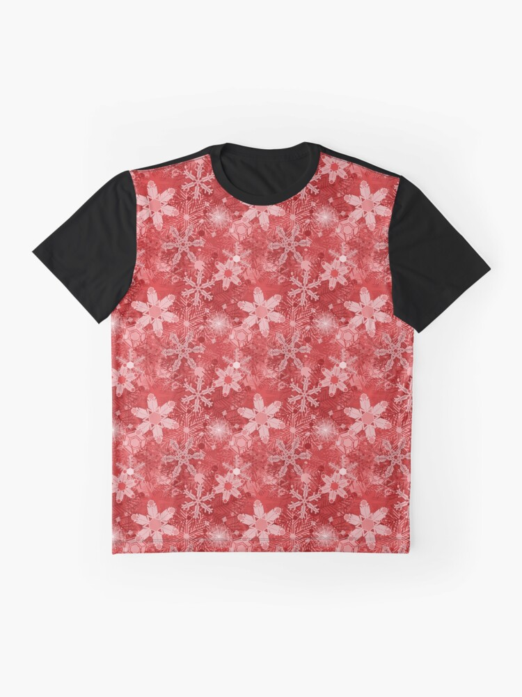 Alternate view of Snowflakes in Reds Graphic T-Shirt