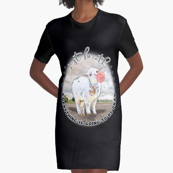 Cute Baby Goat Bubblegum Just Breathe  Graphic T-Shirt Dress