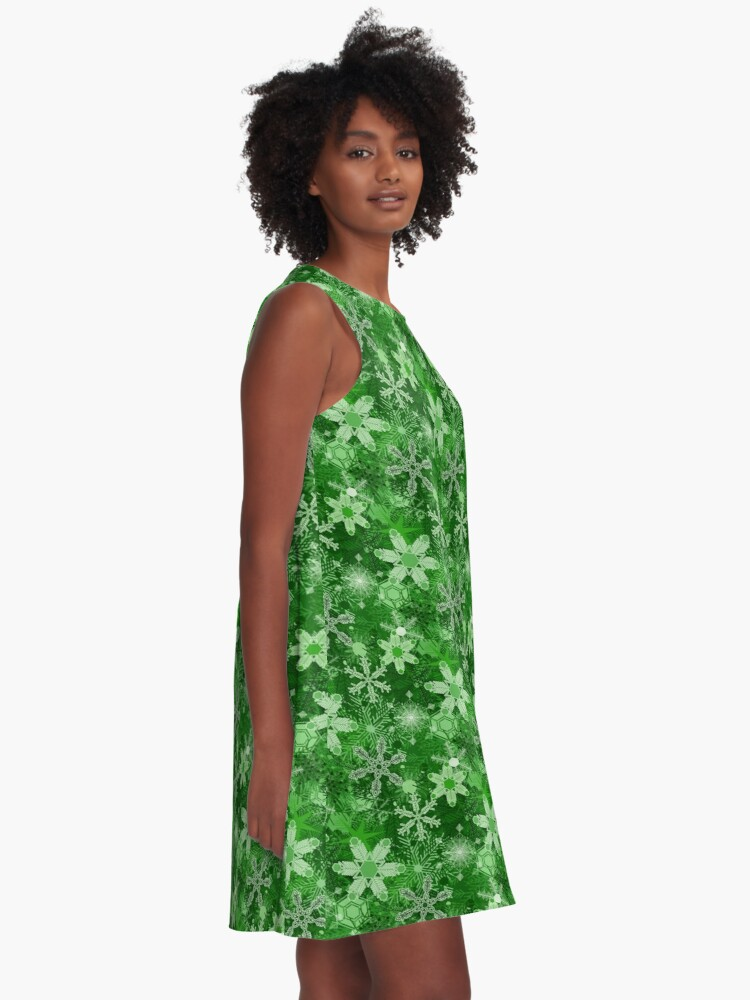 Alternate view of Snowflakes in Greens A-Line Dress