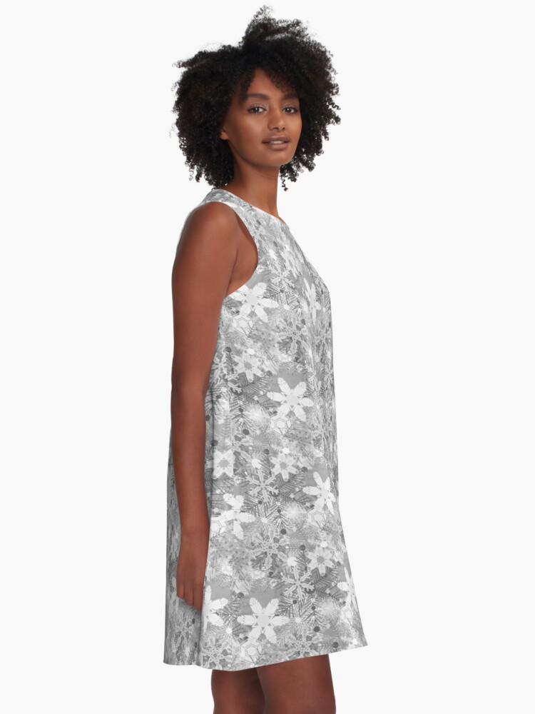 Alternate view of Snowflakes in Silvers A-Line Dress