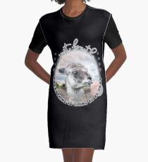 Cute Llama with Bubblegum Just Breathe  Graphic T-Shirt Dress
