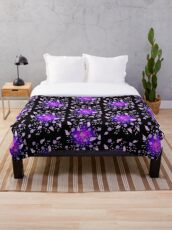 Violet Blooms Throw Blanket