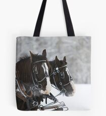 Wagon Horses in the Snow Tote Bag